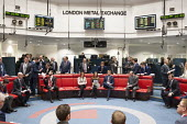 Last trading session of the day on the floor of the London Metal Exchange, on a day of high price volatility. The LME is the last remaining floor in the City of London to trade using open outcry. - Philip Wolmuth - 2010s,2015,Bidder,Bidders,bidding,broker,brokers,business,businessman,businessmen,capitalism,capitalist,cities,City,Commodity Speculation,dealer,dealers,dealing,ebf,Economic,economy,Exchange,finance,F