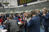 Last trading session of the day on the floor of the London Metal Exchange, on a day of high price volatility. The LME is the last remaining floor in the City of London to trade using open outcry. - Philip Wolmuth - 2010s,2015,Bidder,Bidders,bidding,broker,brokers,business,businessman,businessmen,call,calls,capitalism,capitalist,cities,City,Commodity Speculation,communicating,communication,dealer,dealers,dealing,