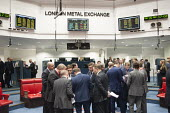 Traders after the last trading session of the day on the floor of the London Metal Exchange, on a day of high price volatility. The LME is the last remaining floor in the City of London to trade using... - Philip Wolmuth - 2010s,2015,broker,brokers,business,businessman,businessmen,capitalism,capitalist,cities,City,Commodity Speculation,dealer,dealers,dealing,ebf,Economic,economy,Exchange,finance,FINANCIAL,floor,free mar