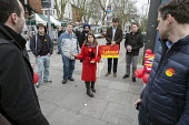 General election 2015: Tulip Siddiq, Labour candidate for Hampstead & Kilburn, the second most marginal seat in the UK, briefs campaigners before a canvassing session in Swiss Cottage, London. - Philip Wolmuth - 2010s,2015,activist,activists,campaign,campaigner,campaigners,campaigning,CAMPAIGNS,candidate,candidates,CANVASING,canvassing,Cottage,COTTAGES,democracy,election,elections,electorate,FEMALE,General El