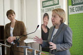 Caroline Lucas and Natalie Bennett. Green Party general election manifesto launch, Dalston, London. - Philip Wolmuth - 14-04-2015
