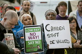 Care home workers and other council staff join a Unison protest outside Camden Town Hall over service cuts and low pay. - Philip Wolmuth - 13-04-2015
