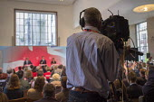 BBC camera operator. Ed Miliband, Ed Balls, Rachel Reeves. Labour Party election press conference, RIBA, London. - Philip Wolmuth - 29-04-2015