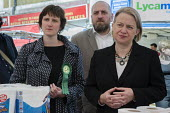 Charlotte George, Green Party parliamentary candidate for Hackney South and Shoreditch, Darren Johnson, Natalie Bennett, Ridley Road market, Dalston, London. - Philip Wolmuth - 30-04-2015