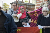 Esmaa Guernaoui, whose family were former residents of Sweets Way estate in Whetstone, is now living in emergency accommodation outside the borough. Tenants, evicted tenants and housing campaigners in... - Philip Wolmuth - ,2010s,2015,accommodation,activist,activists,BAME,BAMEs,Barnet,black,BME,bmes,CAMPAIGN,campaigner,campaigners,CAMPAIGNING,CAMPAIGNS,communities,community,Council,cultural,DEMONSTRATING,demonstration,D