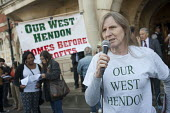 Tenants, evicted tenants and housing campaigners in Barnet, north London, protest outside Hendon Town Hall over the sale of West Hendon estate and the demolition of Sweets Way estate. - Philip Wolmuth - 13-05-2015