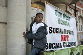 Social Housing not social cleansing. Tenants, evicted tenants and housing campaigners in Barnet, north London, protest outside Hendon Town Hall over the sale of West Hendon estate and the demolition o... - Philip Wolmuth - 2010s,2015,activist,activists,BAME,BAMEs,banner,banners,Barnet,black,BME,bmes,boy,boys,CAMPAIGN,campaigner,campaigners,CAMPAIGNING,CAMPAIGNS,child,CHILDHOOD,children,communities,community,Council,cult
