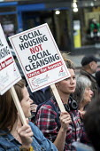Social Housing Not Social Cleansing. Residents of Cressingham Gardens Estate in Brixton, London, demonstrate outside Lambeth Town Hall over council plans to demolish their homes and build new housing... - Philip Wolmuth - 13-07-2015
