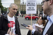 Media interviewing Poles protest anti migrant racism Parliament Square London - Philip Wolmuth - 20-08-2015