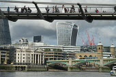 The Thames Millennium Bridge and the City of London Walkie-Talkie building. - Philip Wolmuth - 20,2010s,2015,ACE,architecture,Arts,bridge,bridges,building,buildings,cities,City,cityscape,cityscapes,CLOUD,clouds,cross,crosses,crossing,Culture,Fenchurch,holiday,holiday maker,holiday makers,holida