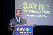 Nigel Farage launching UKIP Say No To The EU Tour Westminster London. Campaigning for a no vote in referendum on EU membership - Philip Wolmuth - 2010s,2015,against,anti,campaign,campaigning,CAMPAIGNS,democracy,EU,European Union,eurosceptic,Euroscepticism,eurosceptics,far right,far right,London,people,POL,political,POLITICIAN,POLITICIANS,politi