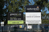 A2Dominion Housing Group & Mayor of London affordable housing scheme signs, Camden - Philip Wolmuth - 26-10-2015