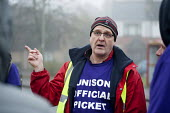 Branch sec John Burgess Unison picketing Mill Hill Depot, strike against outsourcing of council services, Barnet, London - Philip Wolmuth - Trades Union,2010s,2015,against,Anti privatisation,Anti privatisation,anti privatization,council,council services,council services,DISPUTE,DISPUTES,early morning,employment,gate gates,INDEPENDENT,INDU