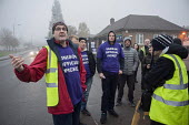 Branch sec John Burgess Unison picketing Mill Hill Depot, strike against outsourcing of council services, Barnet, London - Philip Wolmuth - 02-11-2015