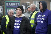 Unison picketing Mill Hill Depot, strike against outsourcing of council services, Barnet, London - Philip Wolmuth - 02-11-2015