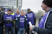 Unison picketing Mill Hill Depot, strike against outsourcing of council services, Barnet, London - Philip Wolmuth - Trades Union,2010s,2015,against,Anti privatisation,Anti privatisation,anti privatization,council,council services,council services,DISPUTE,DISPUTES,early morning,employment,gate gates,INDEPENDENT,INDU