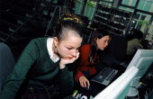 Schoolgirl in local library - Joanne O'Brien - 2000s,2003,child,CHILDHOOD,children,COMPUTE,Computer,Computers,Computing,council,EDU Education,female,females,GIRL,GIRLS,juvenile,juveniles,kid,kids,LEARNING,libraries,Library,local,Local Authority,pe
