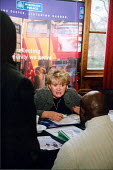 Giving advice at job fair in London - Joanne O'Brien - 20021024