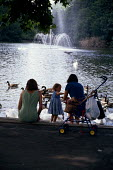 Mothers and children in the park feeding the ducks and swans - Joanne O'Brien - 20021024