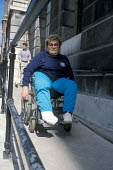 Woman using wheelchair access to Town Hall London - Joanne O'Brien - 20021024