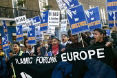 300 Muslim men demonstrated outside the French Embassy in London 17.1.04 in protest against the French governments proposed ban on the wearing of the traditional headscarf or hijab. - Joanne O'Brien - 17-01-2004