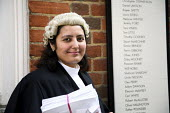 Poonam Bhari, barrister specialising in family law, outside her chambers in London. - Joanne O'Brien - 2000s,2006,Asian,asians,barrister,barristers,BME Black minority ethnic,cities,city,CLJ crime law & justice,counsel,families,family,FEMALE,justice,LAB LBR work ,lawyer,legal,litigation,outside,people,p