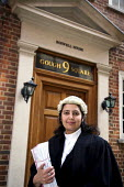 Poonam Bhari, barrister specialising in family law, outside her chambers in London. - Joanne O'Brien - 2000s,2006,Asian,asians,barrister,barristers,BME Black minority ethnic,cities,city,CLJ crime law & justice,counsel,families,family,FEMALE,justice,LAB LBR work ,lawyer,lawyers,legal,litigation,office,o