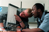 Engineering undergraduates studying hydraulics - Roy Peters - 1990s,1999,BAME,BAMEs,black,BME,bmes,cultural,diversity,EDU education,Engineer,Engineering,Engineers,equipment,ethnic,ethnicity,group,groups,Higher Education,hydraulics,LEARNING,minorities,minority,mi