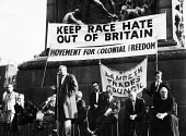Movement for Colonial Freedom anti-racism protest, Trafalgar Square called in response to the Notting Hill race riots of 1958. Keep Race Hate Out of Britain - Alan Vines - 24-09-1958