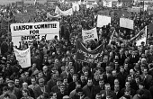 1970 trade union demonstration and rally against the proposed introduction of the Industrial Relations Act. Liason Committee for the defence of trades unions banner - Gail Clarke Hall - 08-12-1970