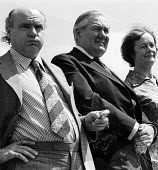 Durham Miners Gala, 1974. Lawrence Daly, Gen Sec of the NUM with Jim Callaghan and his wife, Audrey. - Angela Phillips - 1970s,1974,ACE,ace culture,Audrey Callaghan,County Durham,festival,FESTIVALS,James Callaghan,labour party,man men,member,member members,members,MINER,miner miners,Miners,MINER'S,mp mps,NUM,parade,PEOP