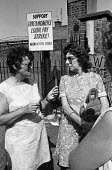 Women workers on the picket line at TRICO, on strike for Equal Pay in 1976 - Angela Phillips - 1970s,1976,AUEW,campaign,campaigning,CAMPAIGNS,discrimination,DISPUTE,DISPUTES,EARNINGS,Equal Pay,equal rights,equality,fair pay,female,FEMININITY,feminism,feminist,feminists,Income,INCOMES,INDUSTRIAL