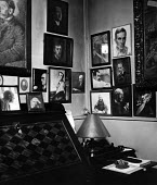 Author, Andre Gides home in Antibes, France, 1949. This room contains portraits of eminent figures belonging to Gides wife, Madame Theo Van Rysselberghe. .... From top right Pierre Herbart, below him... - Dominique Darbois - 28-06-1949