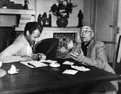 Author, Andre Gide, winner of the 1947 Nobel Prize for Literature, with his son-in-law, Jean Lambert, at Gides home in Antibes, France, 1949 - Dominique Darbois - 28-06-1949