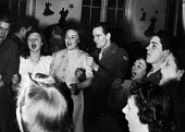 Off-duty American GIs from Burtonwood USAF airbase dancing with local women at the Broadway Club in Warrington. The airbase was reopened in 1948 to support the Wests Cold War effort through the mainte... - Elizabeth Chat - 12-03-1949