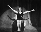 The Lyric Revue, Lyric Theatre, London, 1951, based on music by Noel Coward, Donald Swann and others. Actor, Roberta Huby, on stage. - Elisabeth Chat and Inge Morath - 24-05-1951