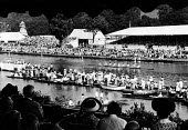 The Henley Regatta in an early 1950s summer. .... - Felix H. Man - 1950s,1951,AFFLUENCE,AFFLUENT,boat,boater,boaters,boating,boats,Bourgeoisie,class,crowd,elite,elitism,England,EQUALITY,high,high income,income,INCOMES,INEQUALITY,leisure,LFL,LIFE,marquee,middle,people