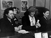 French citizens buying tickets for a special draw for the French National Lottery, Easter, 1949, France. .... - Ina Bandy - 13-04-1949
