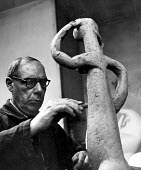 Sculptor, Henri Laurens, 1952, France. .... - Ina Bandy - 1950s,1952,ACE,art,artist,artists,arts,artwork,artworks,cubism,cubist,cubists,culture,eu,Europe,european,europeans,eurozone,france,french,Henri,Laurens,male,man,men,modern,modernism,modernist,modernis
