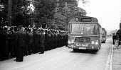 Working miners being bused in to work across NUM picket lines, Shirebrooke, north Derbyshire - John Harris - 12-08-1984