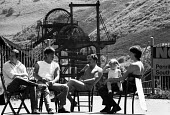 Family day Picket, Penrikyber Colliery, South Wales, The Miners Strike 1984 - John Harris - ,1980s,1984,babies,Baby,baby babies,child,child children,CHILDHOOD,children,coalfield,collieries,colliery,DISPUTE,DISPUTES,EARLY YEARS,families,family,father fathers,INDUSTRIAL DISPUTE,infancy,infant,