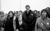 Tony Benn MP on a womens march against pit closures and in support of the miners strike from Markham Main to Arkwright Colliery, North Derbyshire - John Harris - 17-01-1985