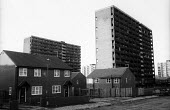 Clearance of bad housing, in the background, and, in foreground, building of new Council Housing in a priority area of Liverpool by the Labour City Council as part of its overtly Socialist policy, whi... - John Harris - 06-12-1985