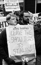 Protest lobby at a Labour Party NEC Enquiry into Liverpool Labour Council, 1985 - John Harris - 1980s,1985,activist,activist activists,activists,against,CAMPAIGN,campaigner,campaigners,CAMPAIGNING,CAMPAIGNS,Council,DEMONSTRATING,DEMONSTRATION,DEMONSTRATIONS,entryism,entryist,entryists,entyrism,e
