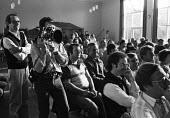 Film Director, Ken Loach, standing beside his camera man during the filming of Which Side Are You On? - a documentary about the miners strike of 1984-85. - John Harris - 02-06-1985