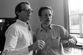 Film Director, Ken Loach with one of his film crew during the filming of Which Side Are You On? - a documentary about the miners strike of 1984-85. - John Harris - 02-06-1985