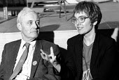 Tony Benn MP with Hilary Wainwright, socialist feminist and editor of Red pepper magazine, at the Socialist Society Conference. Chesterfield - John Harris - ,1980s,1987,equal rights,equality,FEMALE,feminism,feminist,feminists,Independent,Labour Party,Left,magazine,MAGAZINES,Marxist,Marxists,people,person,persons,POL,political,POLITICIAN,POLITICIANS,politi