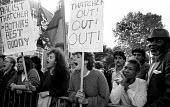Students from Handsworth College, Birmingham, walk out in protest at visit of Margaret Thatcher PM as part of her Innner City Tour, 1987. - John Harris - 1980s,1987,activist,activists,against,age,ageing population,Anti Racism,anti racist,Asian,asians,BAME,BAMEs,Birmingham,black,BME,bmes,CAMPAIGN,campaigner,campaigners,CAMPAIGNING,CAMPAIGNS,College,COLL