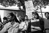 Students from Handsworth College, Birmingham, walk out in protest at visit of Margaret Thatcher PM as part of her Innner City Tour, 1987. - John Harris - 1980s,1987,activist,activists,against,Anti Racism,anti racist,Asian,asians,BAME,BAMEs,Birmingham,black,BME,bmes,CAMPAIGN,campaigner,campaigners,CAMPAIGNING,CAMPAIGNS,College,COLLEGES,cultural,DEMONSTR