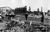 Flixborough Chemical Plant Disaster 1974 after the explosion which demolished the site and killed 28 people, seriously injured 36 workers. Nypro UK Jointly owned by DSM and NCB - John Sturrock - 1970s,1974,accident,accidental,accidents,accidents at work,aftermath,building,buildings,burnt out,caprolactam,chemical,chemical industry,chemicalindustry,chemicals,collapsed,collapsed building,collaps